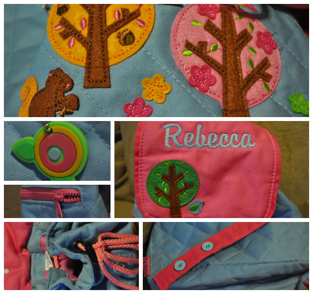 2338ca0b946 I love it! I love the pink, blue, and green colors, the design of the  trees, birds, and owls, and fun little features. The top is a drawstring  closure and ...