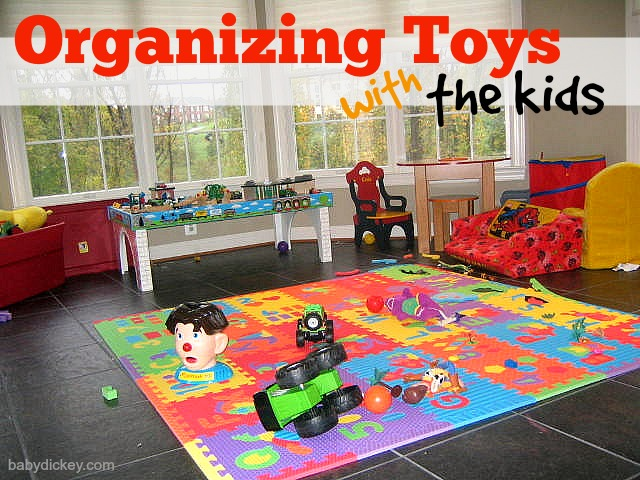 organizing toys with the kids