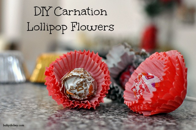 DIY carnation lollipop flowers