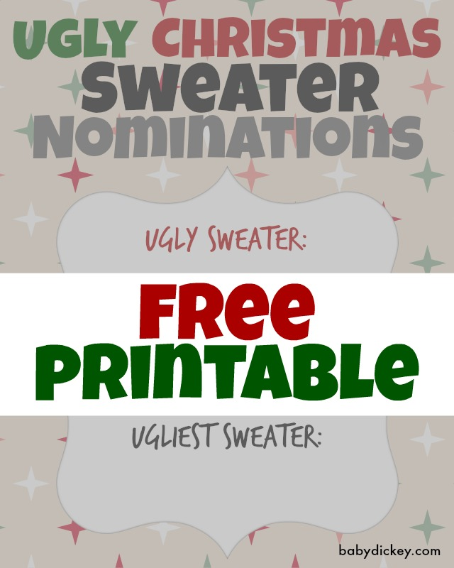Ugly Christmas Sweater printables